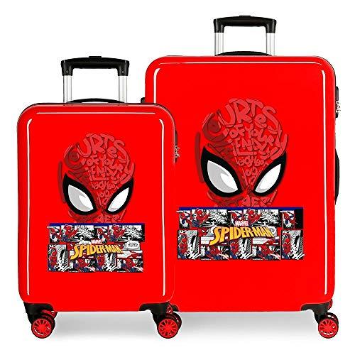 Marvel Spiderman Comic Juego de Maletas Rojo 55/68 cms Rígida ABS Cierre de combinación Lateral 104L 2,66 kgs 4 Ruedas Dobles Equipaje de Mano