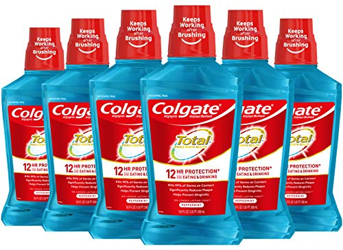Colgate Total Pro-Shield Alcohol Free Mouthwash, Antibacterial Formula, Peppermint - 500 mL, 16.9 Fluid Ounce (6 Pack)