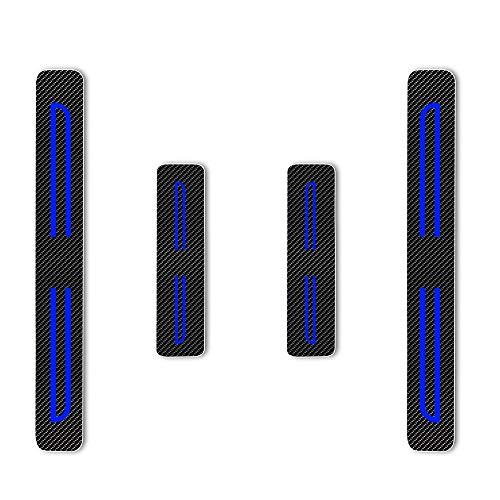 4D Carbon Einstiegsleisten Folie, Lackschutzfolie Selbstklebend, Lackschutz Aufkleber für I-miev ASX Outlander Pajero L200 Space Star Blau 4 Stück