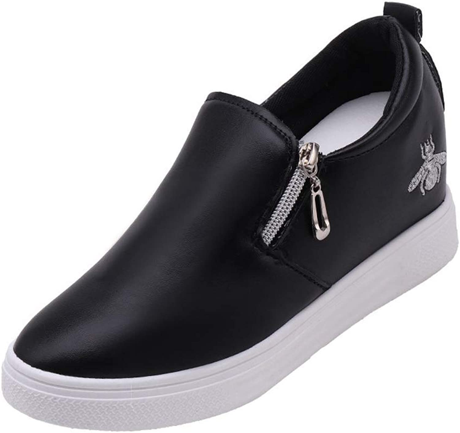 Gcanwea Women Fashion Bee Pattern Wedges Sneakers Spring Autumn Students Increasing shoes for Woman No Grinding Feet Elegant to Wear with Dress Smart to Wear with Jeans Black 5 M US shoes