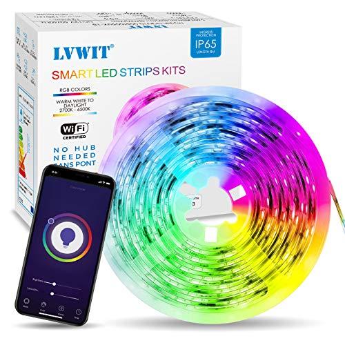 Tiras LED 5M, 5050 RGB Blanco Frío/Cálido Wifi Inteligentes, Impermeable IP65, Compatible...