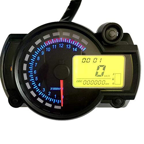 XIAOLUTIANM Medidor de velocímetro Velocímetro de la Motocicleta Instrumento Digital LCD odómetro tacómetro Calibre Compatible with RX2N 4 Cilindros
