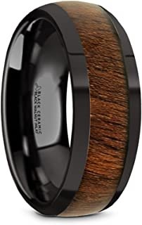Thorsten Wallace Domed Style Black Ceramic Wedding Ring with Exotic Black Walnut Wood Inlay and Polished Beveled Edges Comfort Fit Lightweight Durable Wooden Wedding Band Rings - 8mm