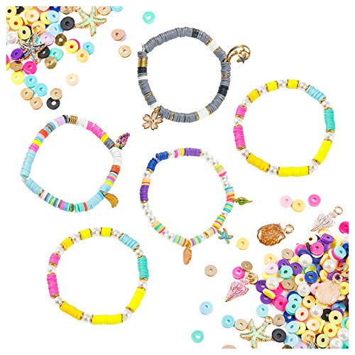 Heishi Beads for Jewelry Making, 4200 Pcs Flat Round Clay Beads, Polymer Clay Spacer Beads, Beads for Bracelets Making Necklace Earring DIY Craft Kit (6mm, 10 Color Mixed)