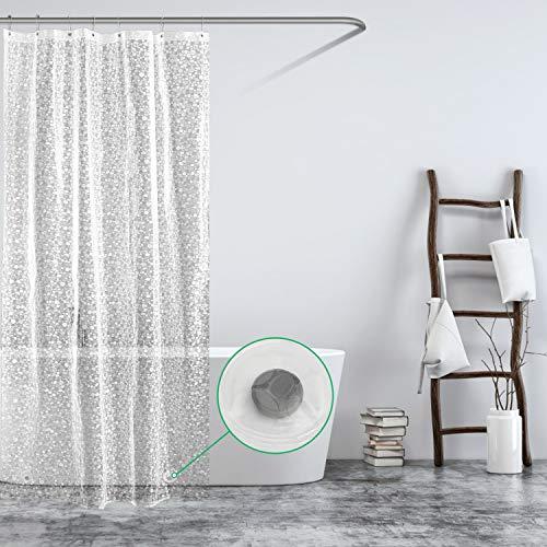 Carttiya Duschvorhang Transparent 120x200 Shower Curtains Duschvorhänge Anti-Schimmel Badevorhang - Wasserdichter Badezimmervorhang mit 12 Edelstahlhaken und Beschwertem Saum