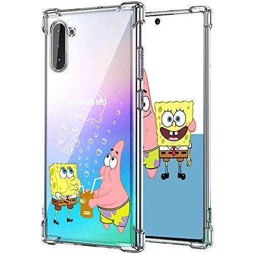 Lupct for Samsung Note 10 Case, Soft TPU Character Cartoon Cute Mobile Phone Spongebob&Patrick Design Girls Boys Cover Skin Slim Fit Funny Fun Ultra-Thin Bumper Clear Shell for Samsung Galaxy Note 10