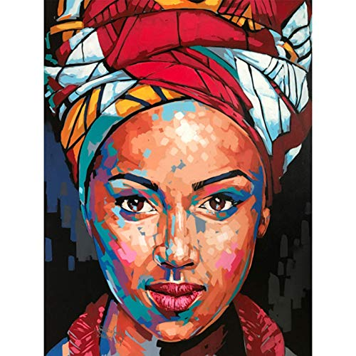 YHZSML 5D Diamond Painting Kits_African Woman Diamond Painting 30x40cm_Full Kits Rhinestone Embroidery Cross Stitch Canvas Wall Art Craft Home Wall Art Craft Decoration for Adult