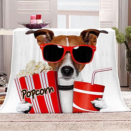 Perro de la película Manta de Lana Gafas de Sol Palomitas de maíz Coca Cola 3D Manta de Franela Ultra-Soft Micro Fleece Blanket Mantas de Lujo para niños y Adultos 70x100cm
