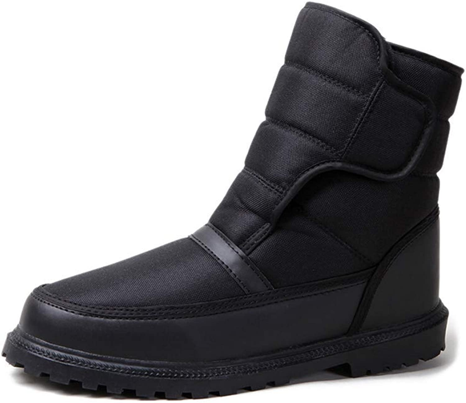Men's Snow Boots With Ice-Slip Clasp Tarpaulin Material Suitable For Winter Outdoor (color   Black, Size   44EU(9UK))