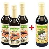 Granvero, 3 Flaschen Bio Kurkumasaft 100% (Direktsaft), je 250 ml + 1 Flasche Graviolasaft (Direktsaft) 250 ml gratis dazu, DE-ÖKO-006