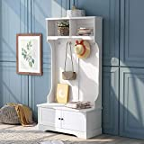 """Knocbel Entryway Coat Garment Rack Storage Bench, 3-in-1 Hall Tree with Compartments & 4 Hooks, 40"""" L x 18.5"""" W x 72"""" H (White)"""