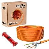 hb-digital Cable de red 25 m CAT.7a, col. naranja, Ethernet, LAN, AWG23, cobre puro, S/FTP, PiMF, LSZH, libre de halógenos, conforme a RoHS, cable de datos PoE 10 Gbit/s, máx. 1200 MHz + pelacables