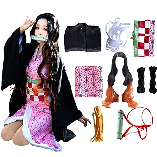 Kamado Cosplay Costume Outfit Kimono with Hairwear and Bamboo (Kid(with wig), 55in/140cm)
