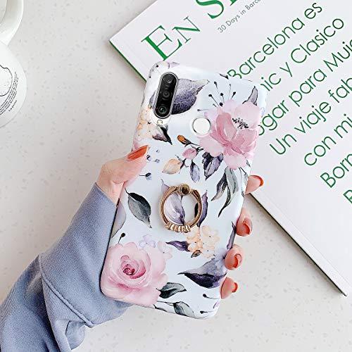 QPOLLY Kompatibel mit Huawei P30 Lite Hülle mit Glänzend Ring Ständer Bunt Blumen Muster Schutzhülle Ultra dünn Weiches TPU Silikon Stoßfest Handyhülle für Huawei P30 Lite,Rosa
