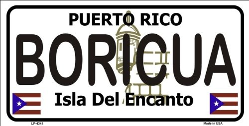 Boricua Puerto Rico Novelty State Background Metal Novelty License Plate Tag Sign by Smart Blonde
