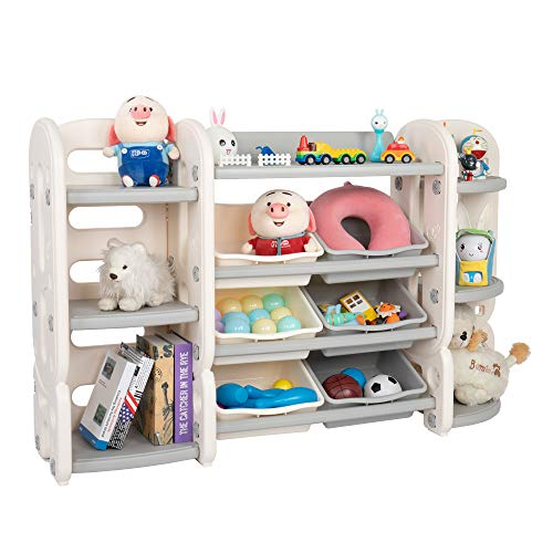 JOYMOR 3-in-1 Kids Toy Storage Organizer with Bins, Children Toy Shelves Bookshelf, Corner Rack, Toddlers Plastic Multi-Layer Shelf for Child's Bedroom Playroom (Grey)