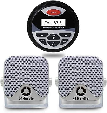 Herdio Receiver Speaker Package Bluetooth MP3 USB AM FM Marine Stereo Bundle for Boat ATV UTV product image