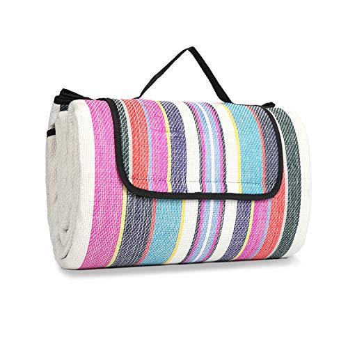 Sekey 200 x 195 cm Picknickdecke Wasserdicht für Draußen mit tragbarem Griff, wasserdichte Campingdecke Stranddecke aus DREI Schichten (Acrylgewebe, Perlbaumwolle und PEVA)