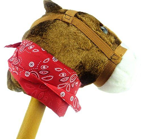 Bruin hobbypaard met bandana en geluid - Paard op een stok - Kinderspeelgoed - Paardenspeelgoed