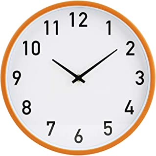 jomparis Silent Non Ticking Battery Operated Quartz Decorative Round Wall Clock Modern Simple Style for Office, Living Room,School (12 Inch White)