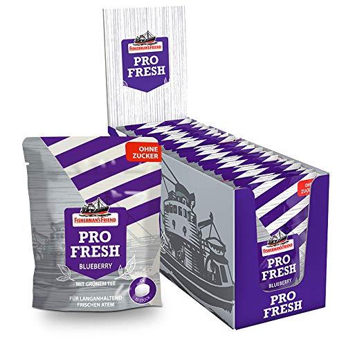 ProFresh Blueberry by Fisherman's Friend, 12x17g im wiederverschließbaren Beutel, zuckerfrei für frischen Atem – mit grünem Tee