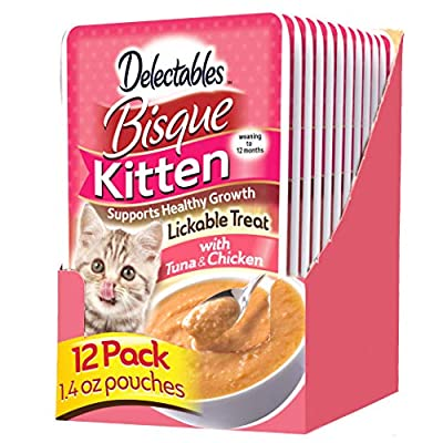 Delectables Bisque Kitten Lickable Wet Cat Treats - Tuna & Chicken (pack of 12) ( Packaging May Vary )