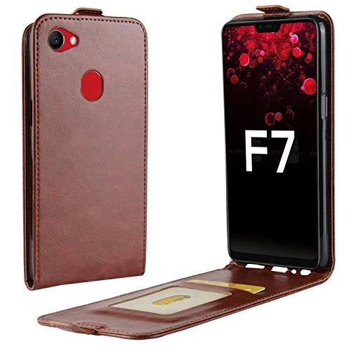 HualuBro Oppo F7 Hülle, Premium PU Leder Leather HandyHülle Tasche Schutzhülle Flip Hülle Cover mit Karten Slot für Oppo F7 Smartphone (Braun)