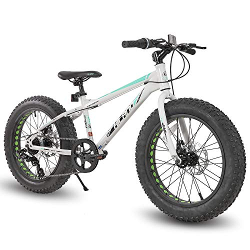 Hiland 20 Inch Kids Fat Tire Mountain Bike 7-Speed MTB Bicycle for Boys Girls Urban Commuter City Bicycle White