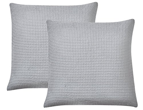 """PHF Cotton Waffle Euro Sham Covers Soft Home Decorations Square Throw Pillow Covers for Bed Couch Sofa Set of 2 26"""" x 26"""" Light Grey"""
