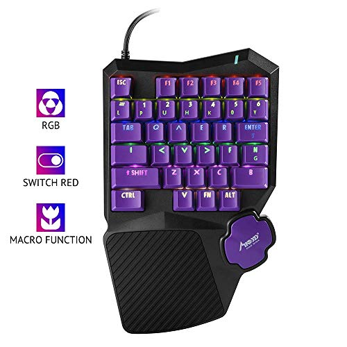 MAD GIGA P1 Gaming Keyboard, professional USB wired One/Single Hand Keyboards with Hand Holder Colourful Backlight Mechanical Feeling Gaming Keyboards...