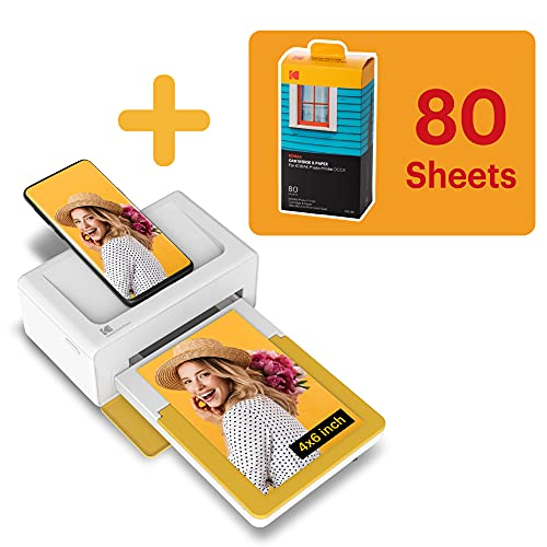 Kodak PD460 Dock Plus, Impresora Fotos movil 10X15Cm, con 90 Hojas para Fotos, Impresora Bluetooth, Cable USB-C Y Lightning, Impresora para Móvil Portátil Smartphone, iOS Y Android