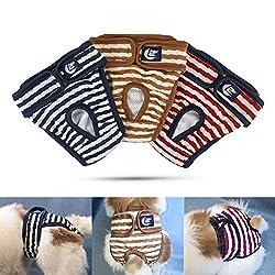 Namsan Hunde Windeln 3 Stück Waschbare Schutzhose für Hündinnen Einstellbare Hunde höschen für Urin Inkontinenz/Untrainierte Welpen/Läufigkeit Hündin - L