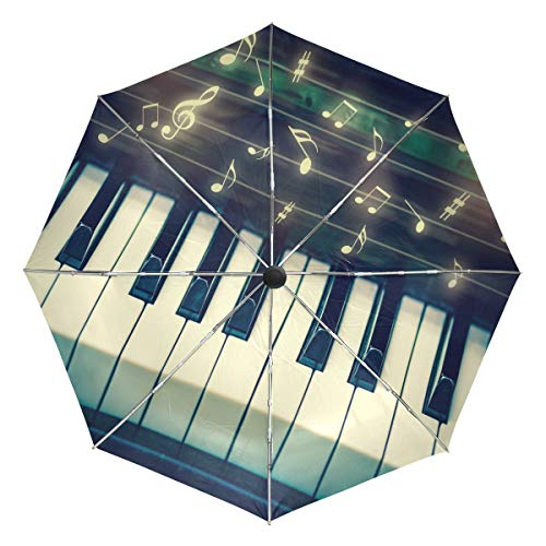 Wamika Closeup Keyboard Piano Automatischer Regenschirm Musiknoten Winddicht Wasserdicht UV-Schutz Reise Regenschirm – 3 Falten Auto Öffnen/Schließen Taste Sonne & Regen Auto Regenschirm