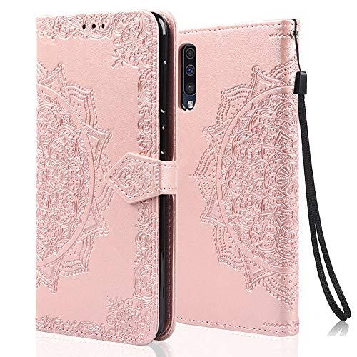 achoTREE Coque pour Samsung A50, Premium PU Cuir de Protection [Stand Support] [Porte-Cartes de Crédit] Portefeuille Étui Housse Coque pour Samsung Galaxy A50 - Or Rose