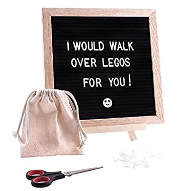 SALE 20% off-Letter Board with 360 letters, punctuation, numbers, symbols & emoji's-10 X 10 inches, oak wood frame, wall mount, stand, canvas bag, and scissors-Felt Letter Board, Board with Letters
