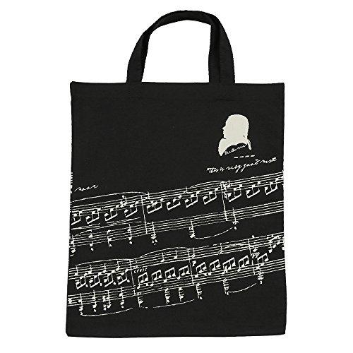 KingPoint Baumwollhandtasche Damen Einkaufstaschen, bedruckt mit Notenschlüsseln, hohen Noten und Musikinstrumenten Designs. Musician and Music Clefs Black