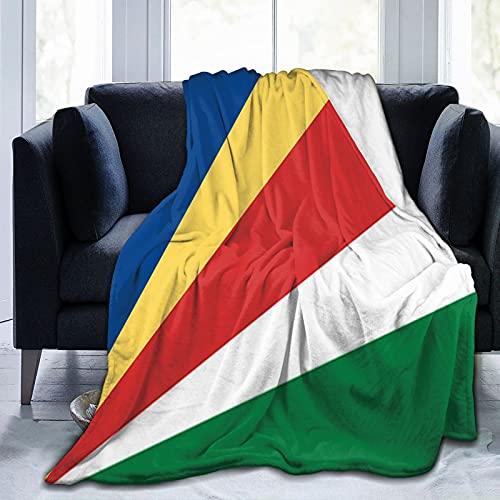 Flanelldecke mit Flagge von Seychellen, flauschig, bequem, warm, leicht, weich, Überwurf für Sofa, Couch, Schlafzimmer