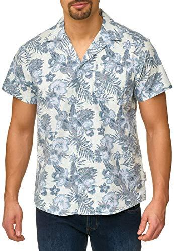 Indicode Herren Mcmillan Hemd mit Brust-Tasche aus 100% Baumwolle | Regular Fit Kurzarm Herrenhemd Blumen-Muster Allover Flower Print Markenhemd kurzärmlig Freizeithemd für Männer Surf Spray XXL