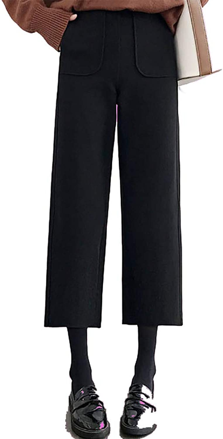 CG Ladies' Autumn and Winter Wool Invisible Zipper Korean Version of Loose High Waist Wide Leg Casual Pants TS8