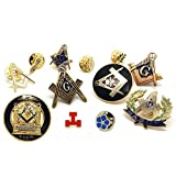 BOBIJOO Jewelry - Lot Ensemble de 12 pin's Franc-Maçonnerie Acacia Noeud Equerre Compas Myosotis G