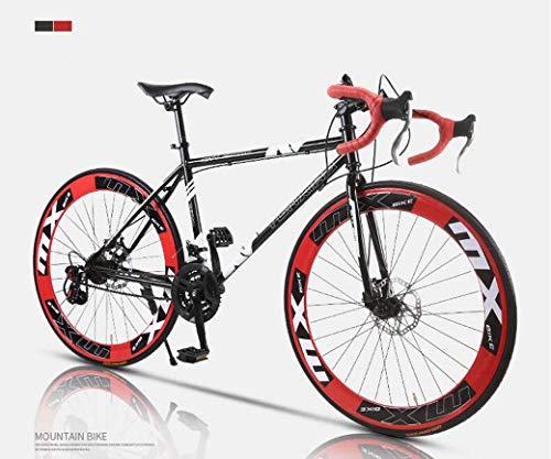 Camino de la bicicleta, de 24 velocidades de 26 pulgadas, bicicletas de doble disco de freno, marco de acero al carbono de alta, camino de la bicicleta de carreras, hombres y mujeres adultos de,F