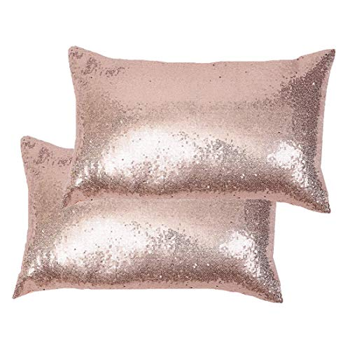 Poise3EHome 12x20inches Sequin Pillow Covers Satin Decorative Pillowcases for Throw Pillows, Couch, Bed, Outdoor, Christmas (Rose Gold, 2PCS)