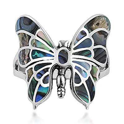 AeraVida Exotic Graceful Butterfly Abalone Shell Inlay .925 Sterling Silver Ring (9)