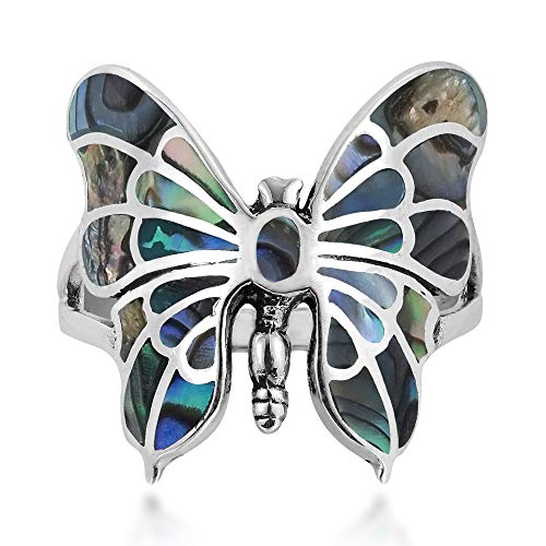 AeraVida Exotic Graceful Butterfly Abalone Shell Inlay .925 Sterling Silver Ring (6)