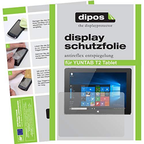 dipos I 2x Protector de Pantalla Mate compatible con YUNTAB T2 Tablet pelicula Protectora