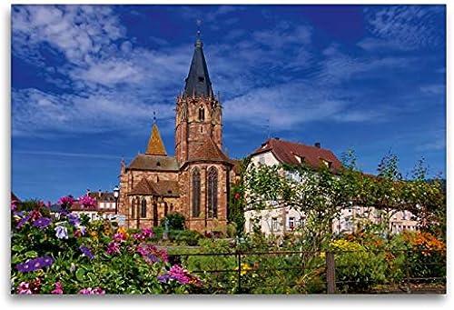 Premium Textile Toile 45cm x 30cm paysage de St Peter et Paul, Wissembourg, 120 x 80 cm