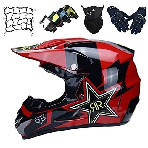 Cascos Motocross Niños, Conjunto de Casco de Motocicleta Unisex Casco MTB Integral con Certificación DOT/ECE con Gafas/Guantes/Máscaras/Red Elástica - con Diseño Fox - Negro Brillante