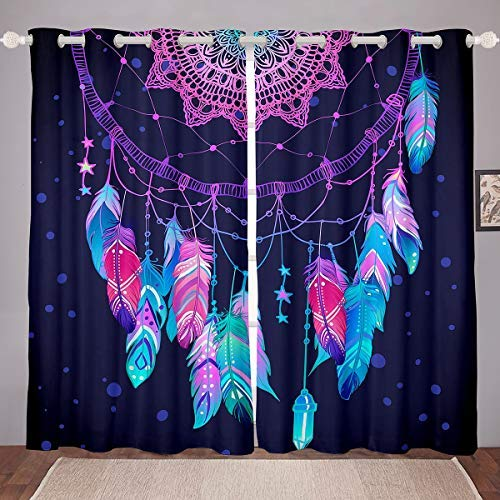 "Erosebridal Boho Hippie Curtains Dream Catcher Window Treatment Colorful Feathers Spiral Curtain Panels Trippy Tribe Exotic Window Drapes, Purple Dorm Decor Bedroom Kitchen 76"" X 54"""