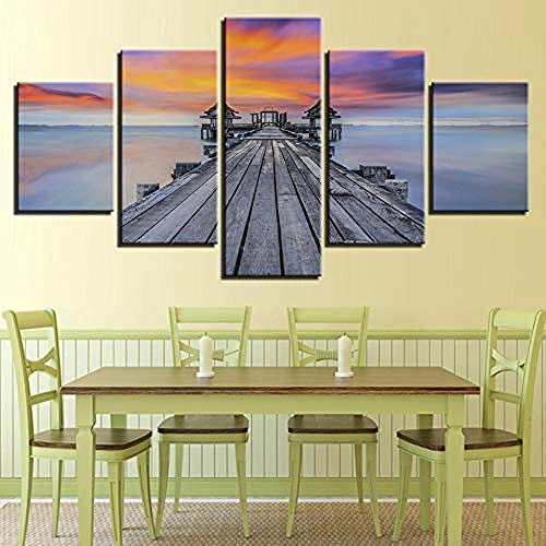 5 gemälde auf leinwand moderne leinwand gemälde wohnkultur schlafzimmer 5 zimmer sonnenaufgang see brücke pavillon gemälde sonnenuntergang seelandschaft poster-Outer frame