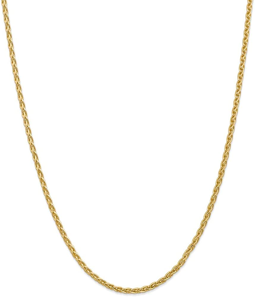 Chain Necklace 14K Yellow Gold Spiga Albuquerque Mall 3 mm Pendant Wheat Gifts 30 in